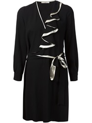 Bouchra Jarrar Ruffle Detail Longsleeved Dress Black