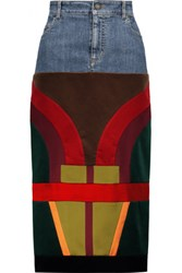 Tom Ford Patchwork Velvet And Satin Paneled Denim Midi Skirt Multi