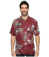 Tommy Bahama Merry Kitchmas Short Sleeve Woven Shirt Aged Claret Men's Short Sleeve Button Up Brown
