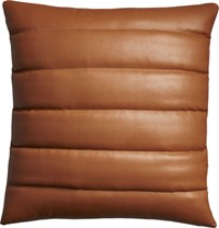 Cb2 Izzy Saddle Leather 18 Pillow With Down Alternative Insert