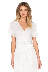 Wildfox Couture Short Sleeve Wrap Top White
