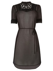 Oasis Lace Trim Victoriana Tunic Dress Black