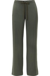 Theory Winszlee Washed Silk Pants Green