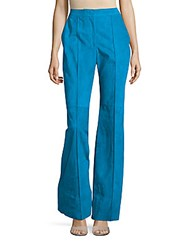 Akris Wide Legged Pleated Suede Pants Blue