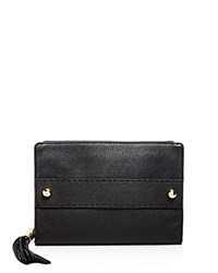 Milly Astor Tassel Leather Clutch Black Gold