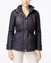 Michael Kors Petite Faux Leather Trim Quilted Barn Jacket Navy