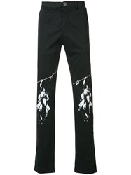 Off White Knee Motif Print Jean Black