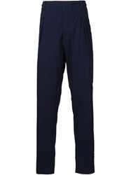 Christophe Lemaire Lemaire Front Pleat Chambray Trousers Blue