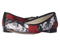 Anne Klein Ovi Red Multi Black Fabric Satin Women's Flat Shoes White