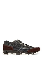Lanvin Tie Dye Leather Panel Sneakers Burgundy