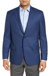 Hart Schaffner Marx Big And Tall Classic Fit Windowpane Wool Sport Coat Blue