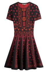 Alexander Mcqueen Intarsia Dress With Wool And Silk Multicolor