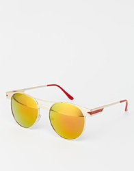 A. J. Morgan Aj Morgan Round Sunglasses With Flash Lens Gold
