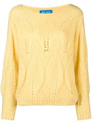 Mih Jeans Lacey Leaf Knit Sweater Yellow And Orange
