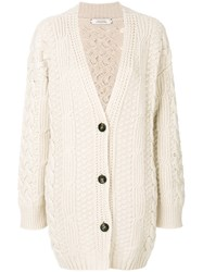 Dorothee Schumacher Cable Knit Cardigan Cashmere Mohair Virgin Wool Nude Neutrals