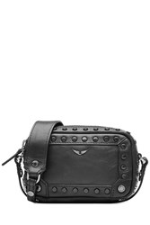 Zadig And Voltaire Embellished Leather Shoulder Bag Black