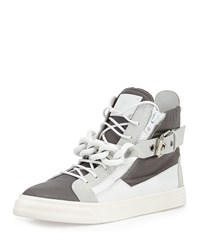 Giuseppe Zanotti Colorblock Leather Chain High Top Sneaker Men's Size 42Eu 9D Wht Grey