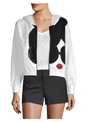 Alice Olivia Kyle Zip Up Cropped Hoodie Optic White Multi