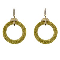 Latelita London Stingray Medium Hoop Earring Kiwi Gold Brown