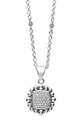 Lagos Women's Caviar Spark Square Diamond Pendant Necklace Silver