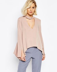 Lavish Alice Blouse With Plunge Neck And Collar Detail Mink