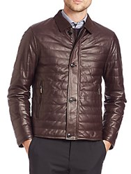 Pal Zileri Quilted Leather Jacket Brown