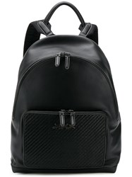 Ermenegildo Zegna Woven Detail Backpack Black