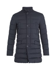 Herno Detachable Placket Quilted Down Coat Navy