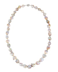 Belpearl Purple And White Freshwater Baroque Pearl Necklace