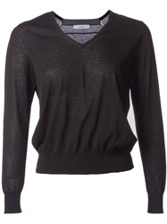 Astraet Lightweight V Neck Long Sleeve Jumper Black