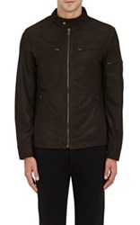 Barneys New York Men's Houndstooth Suede Racer Jacket Brown