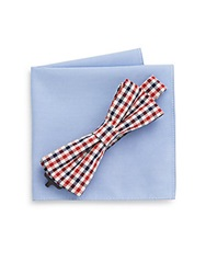 Burma Bibas Gingham Bow Tie And Pocket Square Set