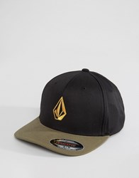 Volcom Full Stone 6 Panel Xfit Hat In Military Camo Green Green