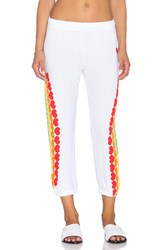 Lauren Moshi Alana Rainbow Heart Crop Sweatpant White