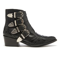 Toga Pulla Women's Buckle Side Mix Leather Heeled Ankle Boots Black