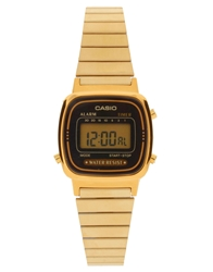 Casio Black And Gold Mini Digital Watch La670wega 1Ef Blackgold