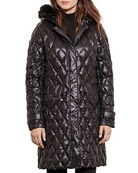 Ralph Lauren Packable Faux Fur Trim Quilted Down Jacket Black