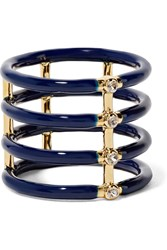 Elizabeth And James Berlin Gold Plated Enamel And Crystal Ring Blue