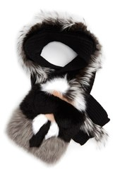 Fendi Women's 'Karlito' Genuine Fox Genuine Mink And Genuine Nutria Fur Scarf Black Natural