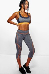 Boohoo Performance Contrast Capri Running Leggings Grey