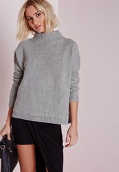 Missguided Turtle Neck Slouched Crop Sweater Grey