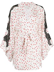 Fleur Du Mal Printed Dot Jacquard James Lace Robe White