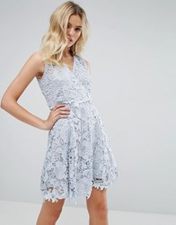 Amy Lynn Occasion Lace Wrap Over Skater Dress Blue