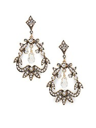 Azaara Vintage Romantic Swarovski Crystal And 14K Gold Fill Wrapped Chandelier Drop Earrings Antique Gold