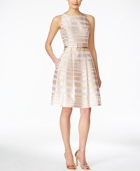 Jessica Howard Sleeveless Belted Striped Fit And Flare Dress Pink