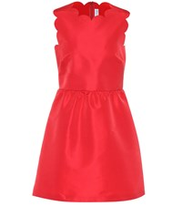 Red Valentino Scalloped Satin Dress Red
