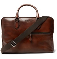 Berluti Gloria Polished Leather Briefcase Brown