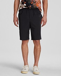 Carven Technical Twill Elastic Waistband Shorts Slim Fit Navy