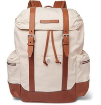 Brunello Cucinelli Leather Trimmed Canvas Backpack Neutrals