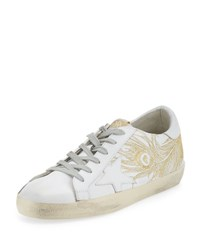 Golden Goose Superstar Embroidered Low Top Sneaker White Gold White Metallic